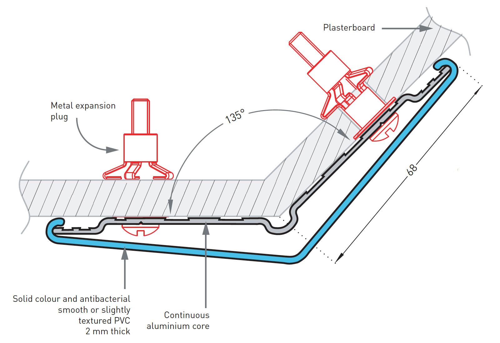 Hoekbeschermer SPM Combo Corner 135 detail tekening
