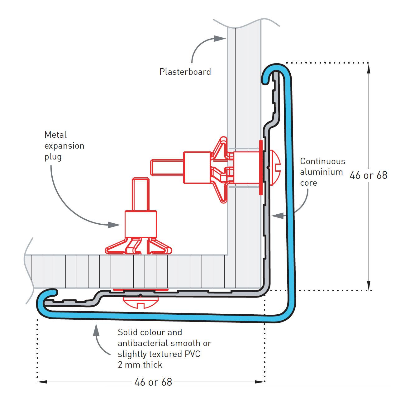 Hoekbeschermer SPM Combo Corner 75 50 Detail tekening