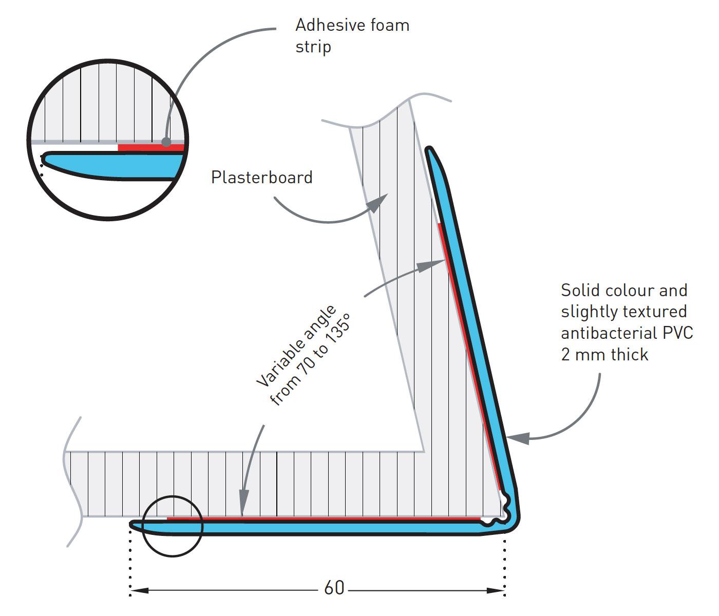 Hoekbeschermer SPM Combo Flex Tekening detail