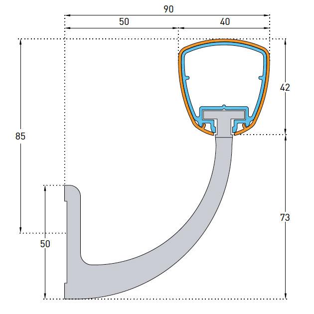 SPM Linea Touch Leuning Detail Tekening 55mm