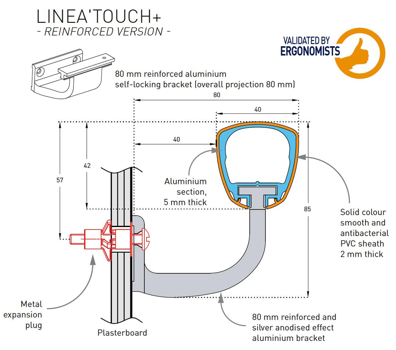 SPM Linea Touch Leuning Detail Tekening 80mm