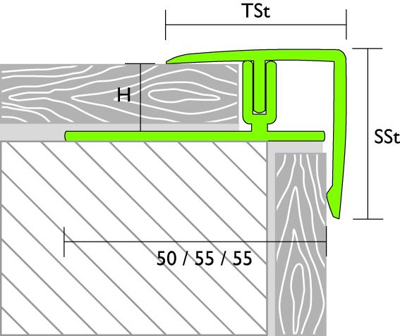 Tekening trapneus laminaat proline