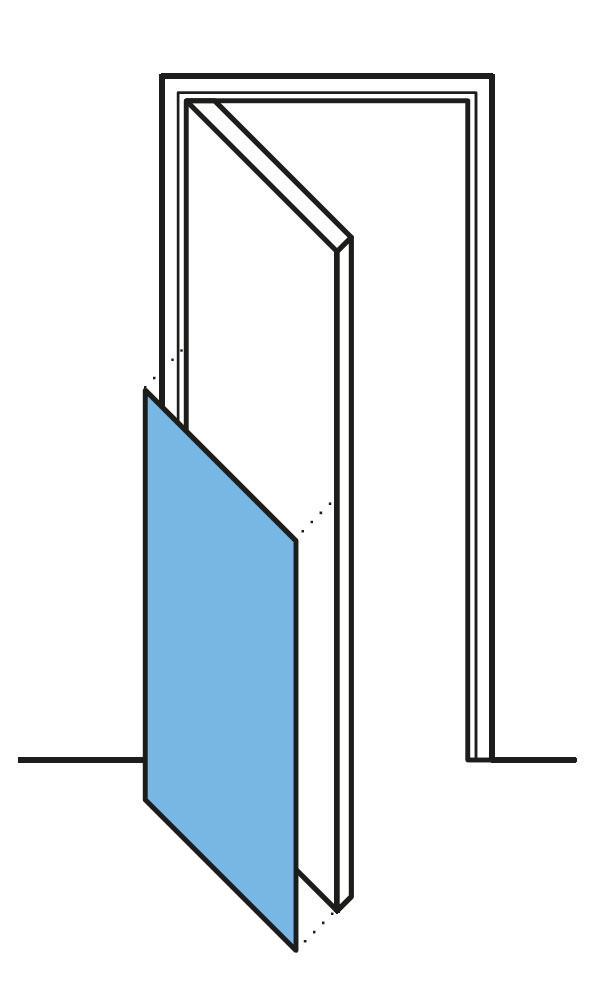 Deurbescherming halve deurpaneel tekening