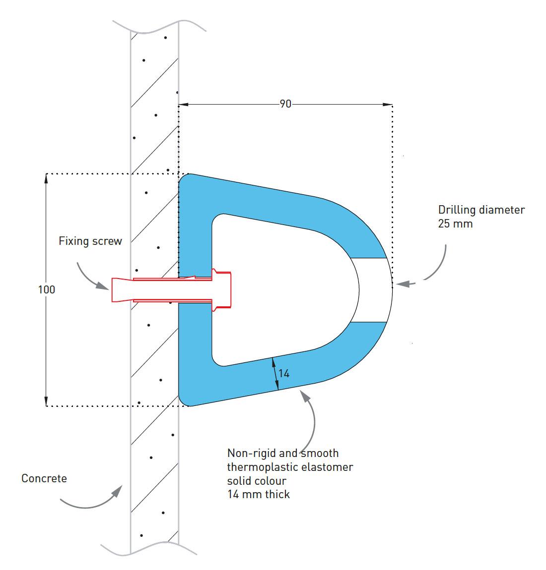 Muurstootlijst SPM Elasto Punch 100D detail tekening