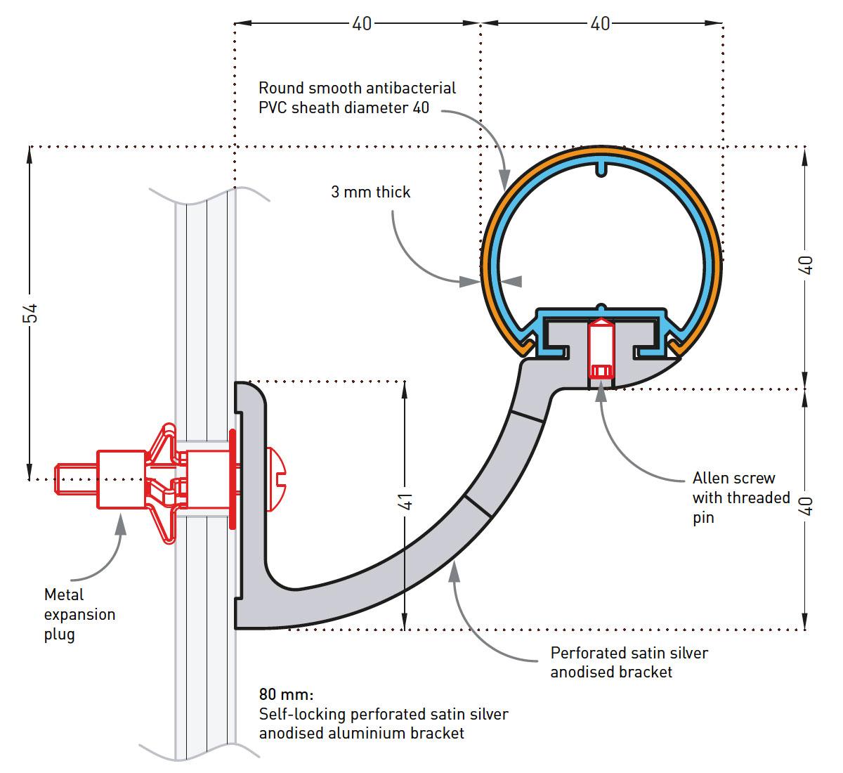 SPM Escort Leuning Detail tekening 80mm beugel