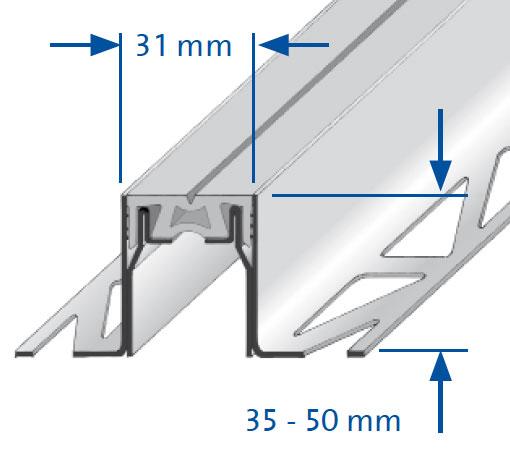 Dilatatieprofiel Duraflex SG RVS tekening