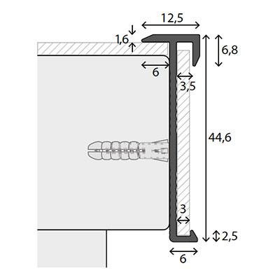 Trapneuzen aluminium voor vinyl inlage tekening
