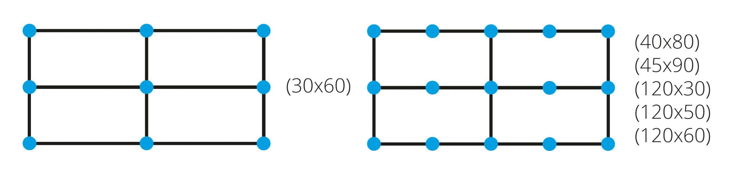 Proleveling system verdeling rechthoekige tegels